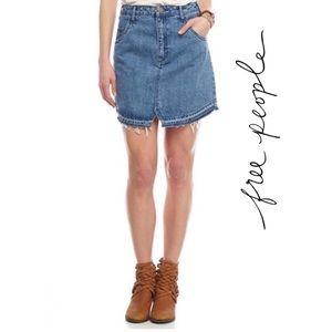 🆕'Step Up' Blue Wash Frayed Denim Skirt